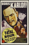 "Movie Posters:Mystery, The Fatal Hour (Classic Pictures, R-1950). One Sheet (27"" X 41"").Mystery. Starring Boris Karloff (as Mr. Wong, Detective), ..."