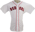 Baseball Collectibles:Uniforms, 2004 Tim Wakefield Game Worn Jersey. Home white gamer dates from that glorious and seemingly impossible season when the Bos...