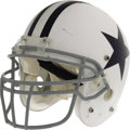 Football Collectibles:Helmets, 2006 Jason Witten Game Worn Throwback Helmet. Some heavy gashes in the white shell of this retro gamer illustrate the sort ...