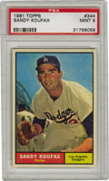 Baseball Cards:Singles (1960-1969), 1961 Topps Sandy Koufax #344 PSA Mint 9. The Hall of Famesouthpaw's first All-Star appearance came the year of thisremark...