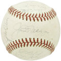 Autographs:Baseballs, 1969 Oakland Athletics Team Signed Baseball with DiMaggio. Joltin'Joe adds his star power to the sweet spot of this OAL (C...