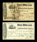 Confederate Notes:Group Lots, Ball 284; 285 Cr. 139; 140 $40; $2 1864 Stock Certificate InterestForms. These were engraved by George Dunn and printed by ...(Total: 2 items)