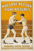 Boxing Collectibles:Memorabilia, Circa 1910 Battling Nelson vs. Ad Wolgast Fight Film Poster. The early century elegance of this gorgeously lithographed pos...