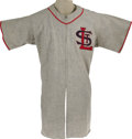 "Baseball Collectibles:Uniforms, 1940's St. Louis Cardinals Prototype Jersey. Exceedingly scarce ""Rawlings"" salesman's sample was presented to the Cardinals..."