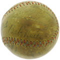 Autographs:Baseballs, 1930's Baseball Legends Multi-Signed Baseball with Ruth, Gehrig. Upon first glance, it would seem that this godly sphere de...