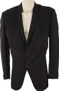 Movie/TV Memorabilia:Costumes, Ben Johnson's Nudie Jacket. A black Western sports jacket with silk paisley lining, custom tailored by Nudie Cohen for lege... (Total: 1 Item)