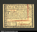Colonial Notes:Massachusetts, May 5, 1780, $20, Massachusetts, MA-285, Choice CU. A scarce ...