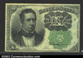 Fractional Currency:Fifth Issue, Fifth Issue 10c, Fr-1264, AU. This is the much scarcer green ...