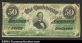 Confederate Notes:1863 Issues, T57 $50 1863. There are three nice margins but it is tight ...
