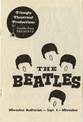 Music Memorabilia:Posters, Rare Beatles Program, 1964 Performance in Milwaukee. In 1964, ontheir first US tour, the Beatles made a stop in Milwaukee o...(Total: 1 Item)