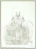 Original Comic Art:Miscellaneous, Bob Kane - Signed/Remarqued Batman Print (undated). A moody blackand white piece that hearkens back to the earliest years o...