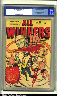 All Winners Comics #19 (Timely, 1946) CGC VF+ 8.5 White pages. The classic cover by Syd Shores sets the tone for this se...