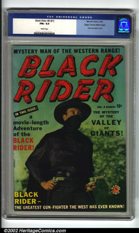 Black Rider #8 (#1) Mile High pedigree (Atlas, 1950) CGC FN+ 6.5 White pages. This first issue of Black Rider is very co...