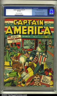 Captain America Comics #1 (Timely, 1941) CGC VF 8.0 Cream to off-white pages. With a sock to Hitler's jaw, Captain Ameri...