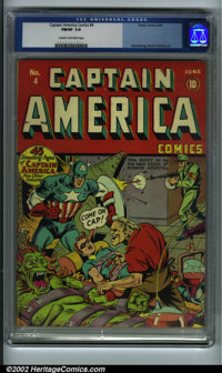 Captain America Comics #4 (Timely, 1941) CGC FN/VF 7.0 Cream to off-white pages. Cap and Bucky have their hands full, ba...