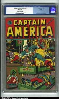Captain America Comics #28 Chicago pedigree (Timely, 1943) CGC NM- 9.2 Off-white to white pages. Syd Shores shoots and s...