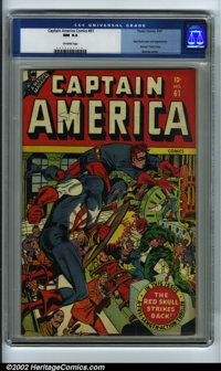"""Captain America Comics #61 (Timely, 1947) CGC NM 9.4 Off-white pages. """"The Red Skull Strikes Back!"""" This outst..."""