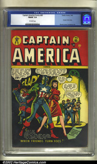 Captain America Comics #65 (Timely, 1948) CGC FN/VF 7.0 Off-white pages. Here's another one of the difficult later issue...