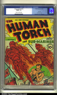 Human Torch Comics #1 (Timely, 1940) CGC FN/VF 7.0 Cream to off-white pages. One of the Top 25 issues from the Golden Ag...