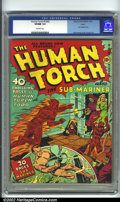 Golden Age (1938-1955):Superhero, Human Torch Comics #3 (#2) Larson pedigree (Timely, 1940) CGC VF/NM 9.0 Off-white pages. Alex Schomburg delivers a masterpie...