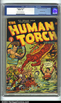 Human Torch Comics #7 (Timely, 1942) CGC FN/VF 7.0 Light tan to off-white pages. The Human Torch is swooping in to save...