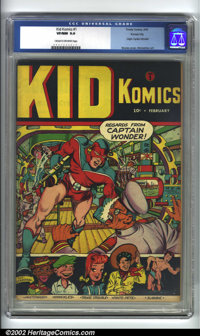 Kid Komics #1 Kansas City pedigree (Timely, 1943) CGC VF/NM 9.0 Cream to off-white pages. Tojo takes one in the jaw on t...