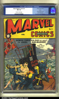 Golden Age (1938-1955):Superhero, Marvel Mystery Comics #4 Larson pedigree (Timely, 1940) CGC FN- 5.5 Off-white to white pages. The German flag flying on the ...