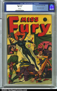 Miss Fury #4 (Timely, 1944) CGC NM- 9.2 White pages. Miss Fury battles the evil forces of the Axis on the cover of this...