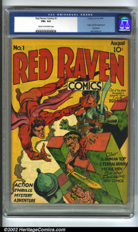Red Raven #1 (Timely, 1940) CGC FN+ 6.5 Cream to off-white pages. Jack Kirby's cover, his first signed work, is a doozy;...
