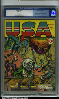 U.S.A Comics #1 Kansas City pedigree (Timely, 1941) CGC VF- 7.5 Off-white pages. This bondage Nazi cover is one of the c...