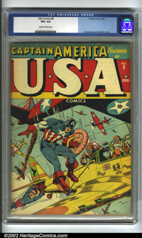 U.S.A Comics #8 (Timely, 1943) CGC VG+ 4.5 Slightly brittle pages. How surprising! Captain America has to come to Bucky'...