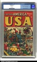 Golden Age (1938-1955):Superhero, U.S.A Comics #16 (Timely, 1945) CGC FN- 5.5 Off-white pages. A great Captain America and Bucky action cover by Alex Schombur...