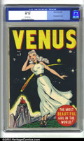 Golden Age (1938-1955):Superhero, Venus #1 (Atlas, 1948) CGC VF- 7.5 Off-white pages. Venus makes her first appearance in the debut issue of her self-titled b...