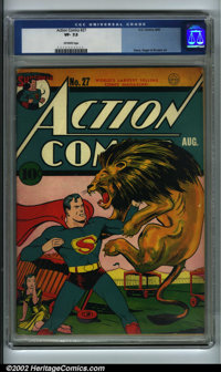 Action Comics #27 (DC, 1940) CGC VF- 7.5 Off-white pages. Here is a very respectable copy of an early Action. Great colo...