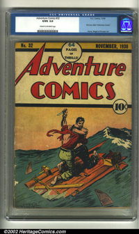 Adventure Comics #32 (DC, 1938) CGC G/VG 3.0 Cream to off-white pages. What a precarious position these two are in! This...