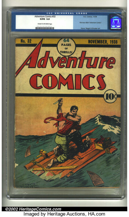Adventure Comics #32 (DC, 1938) CGC G/VG 3.0 Cream to off-white pages. What a precarious position these two are in! This was...