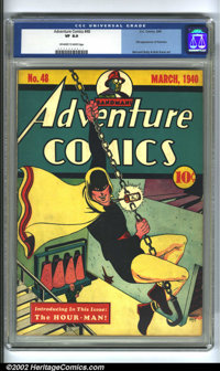 Adventure Comics #48 (DC, 1940) CGC VF 8.0 Off-white pages. Hourman swings into action on the cover of this Golden Age k...