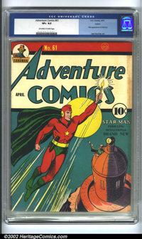 Adventure Comics #61 Larson pedigree (DC, 1941) CGC VF+ 8.5 Off-white to white pages. Featuring the first appearance of...