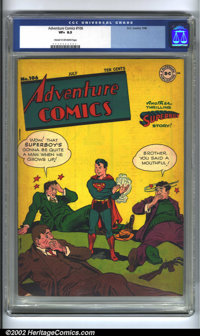 Adventure Comics #106 (DC, 1946) CGC VF+ 8.5 Cream to off-white pages. Three beaten gangsters comment to Superboy how he...