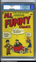 Golden Age (1938-1955):Humor, All Funny Comics #1 Mile High pedigree (DC, 1943) CGC NM+ 9.6 White pages. This is one incredible book! Every attribute you ...