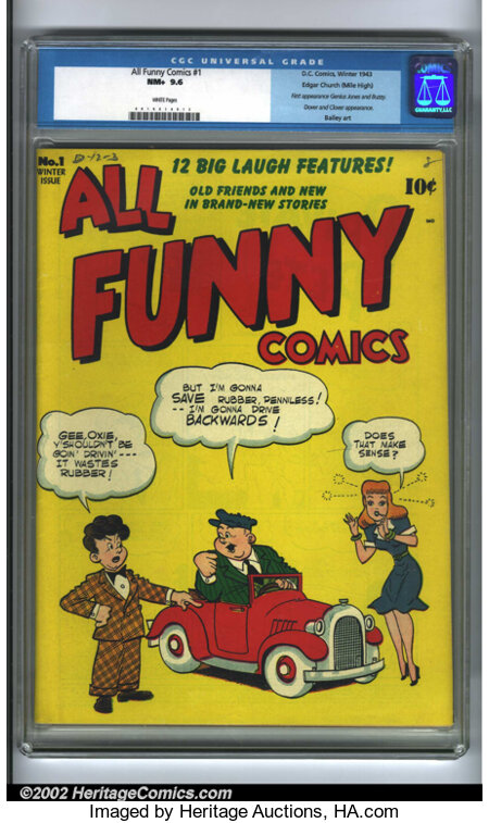 All Funny Comics #1 Mile High pedigree (DC, 1943) CGC NM+ 9.6 White pages. This is one incredible book! Every attribute you ...