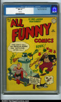 Golden Age (1938-1955):Humor, All Funny Comics #7 Mile High pedigree (DC, 1945) CGC NM 9.4 White pages. Here is a Mile High book in straight Near Mint and...