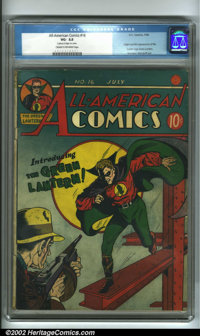All-American Comics #16 (DC, 1940) CGC VG- 3.5 Cream to off-white pages. This spectacular cover by Sheldon Moldoff intro...