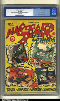 All-Star Comics #1 (DC, 1940) CGC VG- 3.5 Off-white pages. With the now-famous composite cover by E.E. Hibbard, Creig Fl...