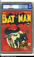 Golden Age (1938-1955):Superhero, Batman #2 (DC, 1940) CGC FN/VF 7.0 Off-white to white pages. The Joker and Catwoman team up in this classic, early Golden Ag...