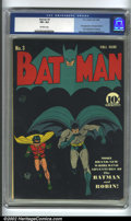 Golden Age (1938-1955):Superhero, Batman #3 (DC, 1940) CGC VF+ 8.5 Off-white pages. Classic Bob Kane cover! Feel the action as Batman and Robin the Boy Wonder...