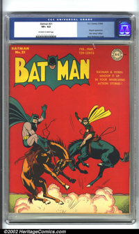 Batman #21 (DC, 1944) CGC VF+ 8.5 Off-white to white pages. A blinding red cover by Jerry Robinson sets off this WWII-er...