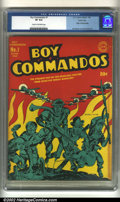 Golden Age (1938-1955):War, Boy Commandos #1 (DC, 1942) CGC VF 8.0 Cream to off-white pages. Here is yet another classic World War II cover from Jack Ki...