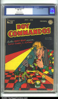 Golden Age (1938-1955):War, Boy Commandos #22 (DC, 1947) CGC NM- 9.2 Off-white to white pages.Colorful cover foretells the third appearance of Crazy Qu...