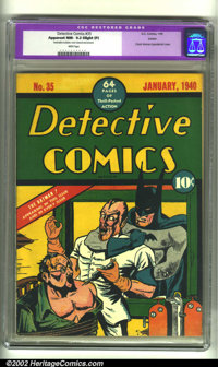 Detective Comics #35 Larson pedigree (DC, 1940) CGC Apparent NM- 9.2 Slight (P) White pages. Here's one of the most clas...